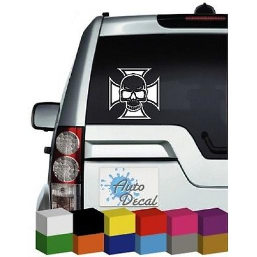 Iron Cross and Skull Vinyl Car, Van, 4x4 Decal / Sticker / Graphic