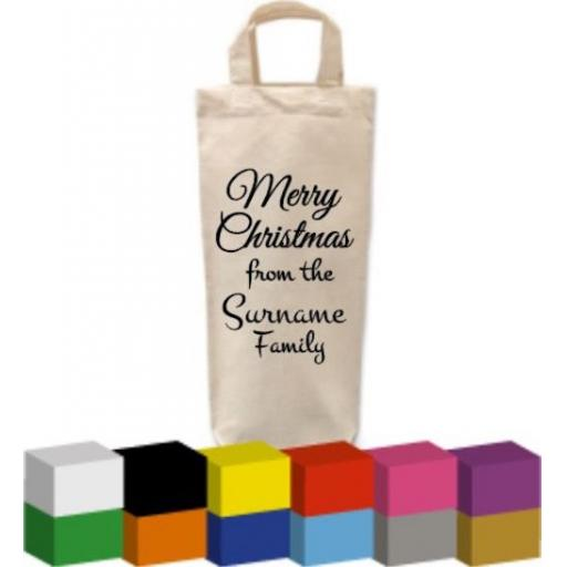 Christmas Bottle Bag with Merry Christmas from the Personalised family
