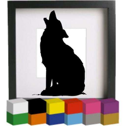Howling Wolf Vinyl Glass Block / Photo Frame Decal / Sticker / Graphic