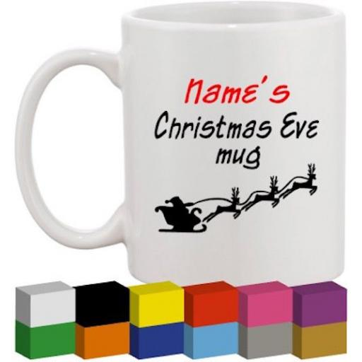Christmas Eve Personalised Glass / Mug / Cup Decal / Sticker / Graphic