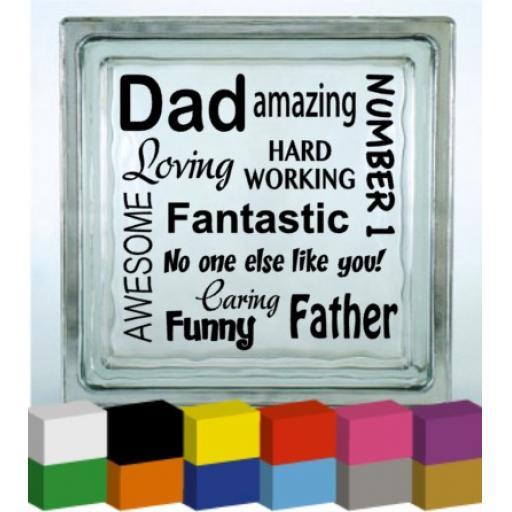 Dad (Words) Vinyl Glass Block / Photo Frame Decal / Sticker/ Graphic