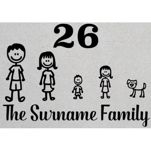 The Surname Family with Number Personalised House Decal / Sticker / Graphic