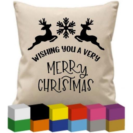 Cushion Cover with Wishing you a very merry Christmas