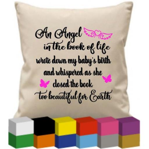 Cushion Cover with An Angel in the book of life V2