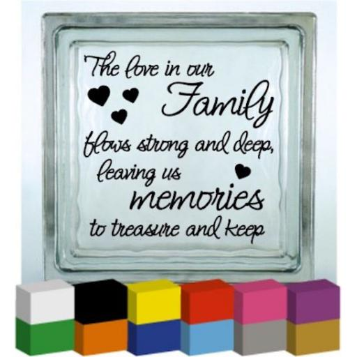 The love in our Family Vinyl Glass Block / Photo Frame Decal / Sticker/ Graphic