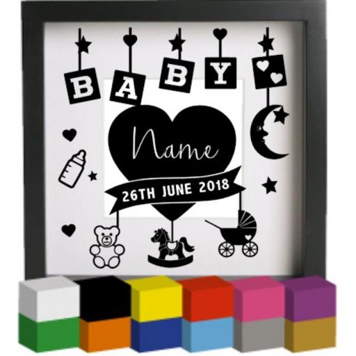 Personalised Baby Birth with blocks V2 Vinyl Glass Block Decal / Sticker / Graphic