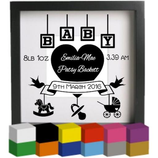 Personalised Baby Birth with blocks Vinyl Glass Block Decal / Sticker / Graphic