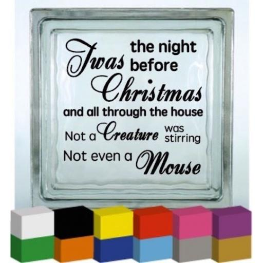 Twas the night before Christmas Vinyl Glass Block Decal / Sticker / Graphic
