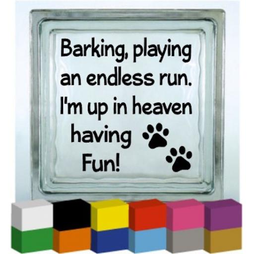 Barking Playing Vinyl Glass Block Decal / Sticker/ Graphic