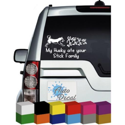 My Husky ate your Stick Family Vinyl Car Sticker / Decal / Graphic