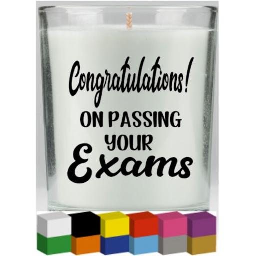 Congratulations on passing your exams Candle Decal / Sticker / Graphic