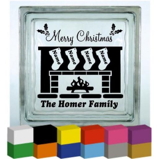 Merry Christmas Fireplace Vinyl Glass Block / Photo Frame Decal / Sticker / Graphic