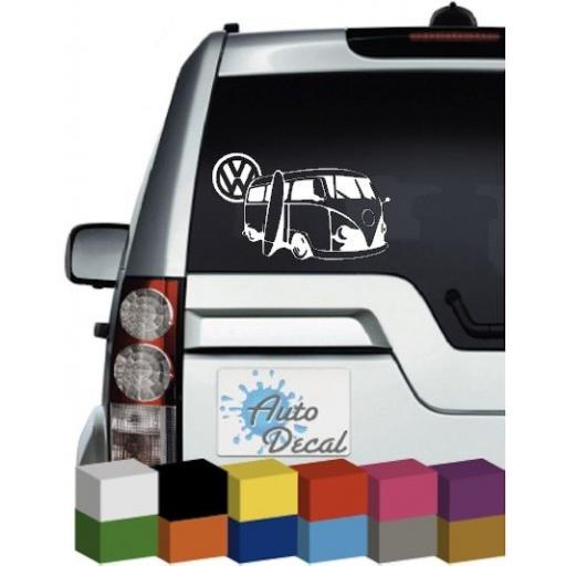 Volkswagen Camper Van Surf Board, VW, Vinyl Car, Van, Mirror Window Sticker