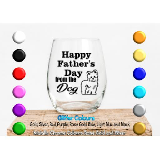 Happy Father's Day from the dog Personalised with dog breed Glass / Mug Decal / Sticker / Graphic