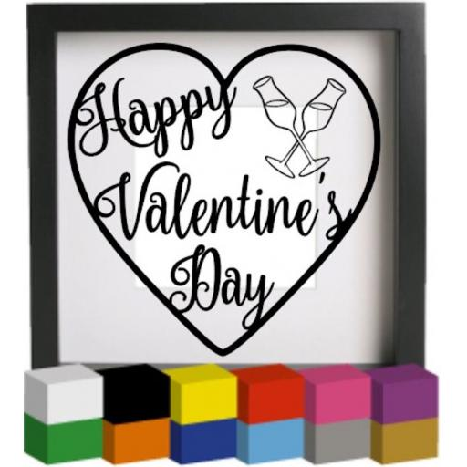 Happy Valentine's Day Heart Vinyl Glass Block / Photo Frame Decal / Sticker / Graphic