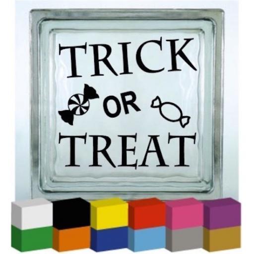 Trick or Treat Halloween Vinyl Glass Block Decal / Sticker / Graphic