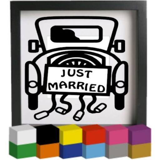 Just Married Vinyl Glass Block / Photo Frame Decal / Sticker / Graphic