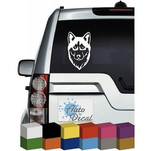Siberian Husky Face Vinyl Car Animal Window, Bumper Decal / Sticker / Graphic