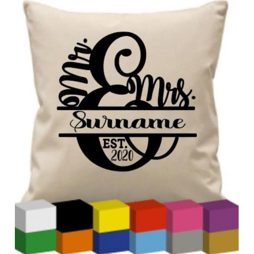 Cushion Cover with Mr & Mrs Surname Personalised