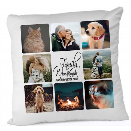Photo Cushion with up to 9 pics Personalised Cushion Cover