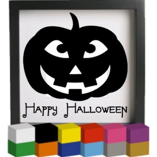 Happy Halloween Pumpkin Vinyl Glass Block Decal / Sticker / Graphic
