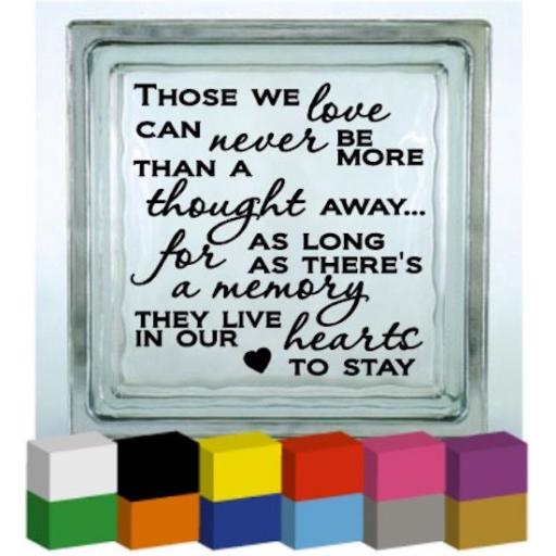 Those we love V2 Vinyl Glass Block / Photo Frame Decal / Sticker/ Graphic
