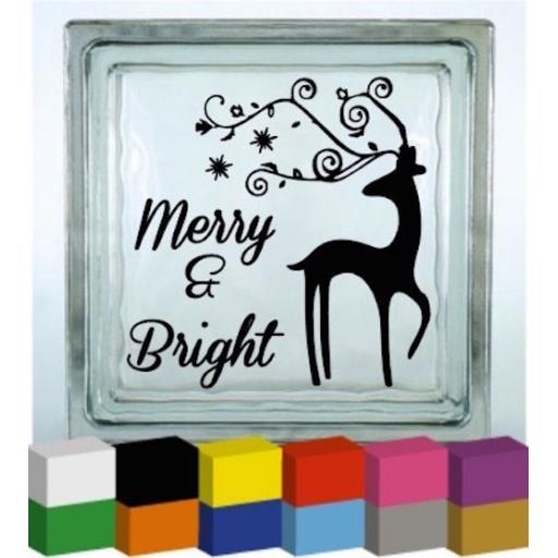 Merry & Bright (Christmas) Vinyl Glass Block Decal / Sticker / Graphic