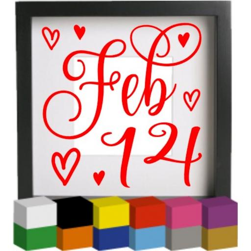 Feb 14 Vinyl Glass Block / Photo Frame Decal / Sticker / Graphic