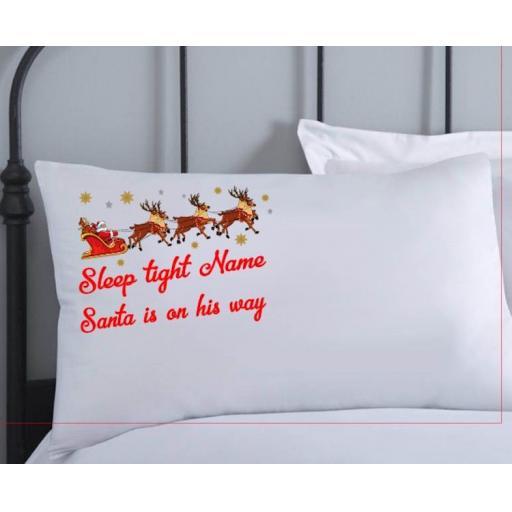 Personalised Christmas Eve Pillowcase Sleep tight santa is on his way V3
