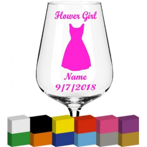 Flower Girl Personalised V2 Glass / Mug / Cup Decal / Sticker / Graphic