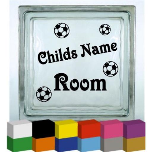 Personalised Child's Room Football Vinyl Glass Block / Photo Frame Decal / Sticker/ Graphic