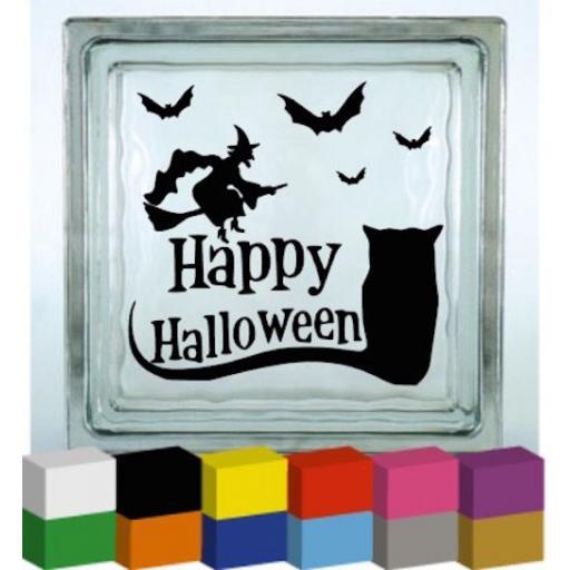 Happy Halloween Owl Vinyl Glass Block Decal / Sticker / Graphic