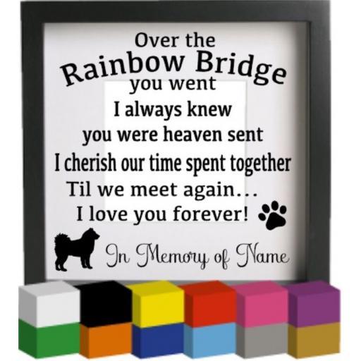 Over the Rainbow Bridge you went Vinyl Glass Block / Photo Frame Decal / Sticker / Graphic
