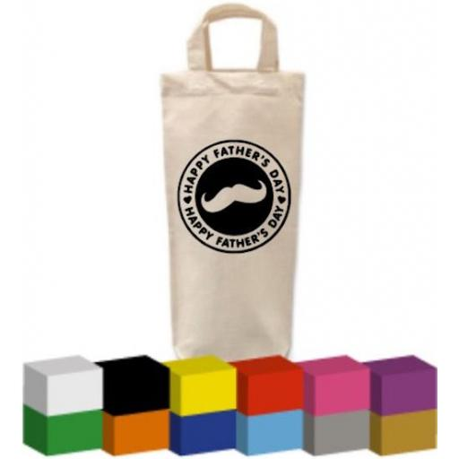 Bottle Bag with Happy Father's Day Moustache