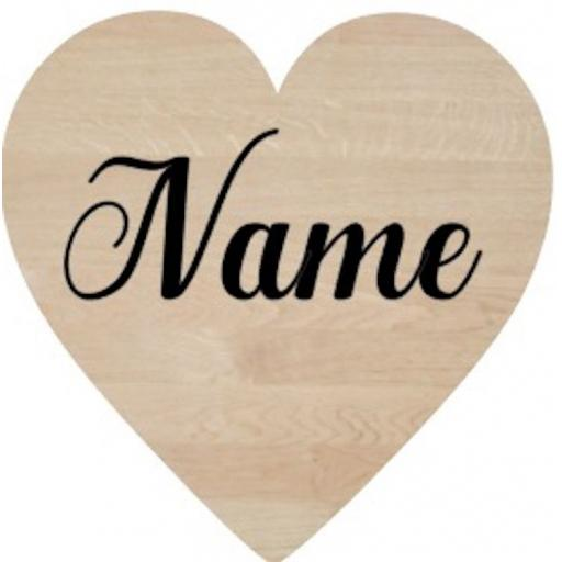 Name for 5cm Wooden Heart Decal / Sticker/ Graphic