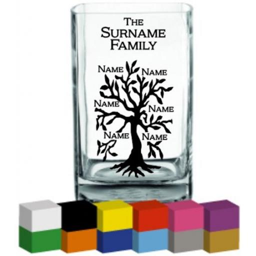 Family Tree Vase Decal / Sticker / Graphic