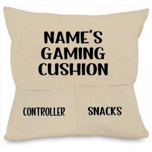 Gaming Cushion Cover with Pockets Personalised