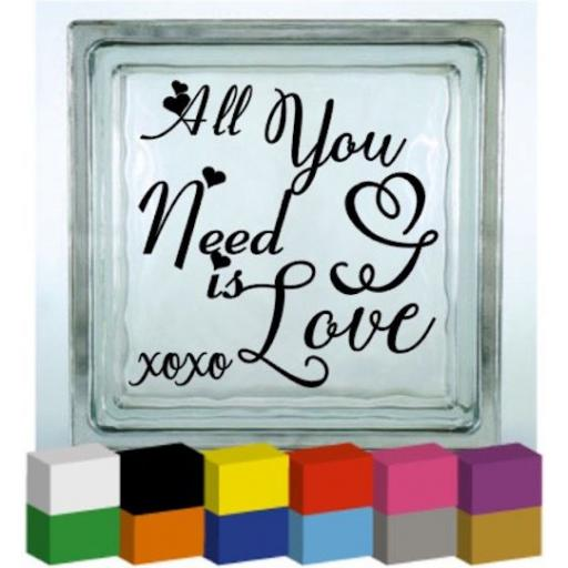 All You Need is Love Vinyl Glass Block / Photo Frame Decal / Sticker / Graphic