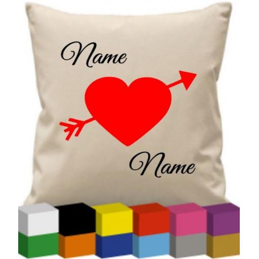 Cushion Cover with Names and Heart Personalised
