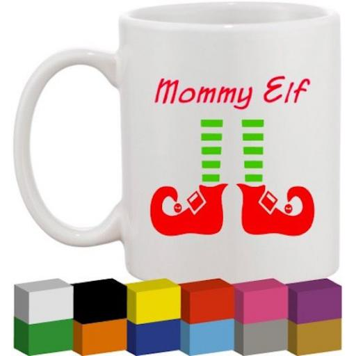 Personalised Elf Mug Glass / Mug / Cup Decal / Sticker / Graphic