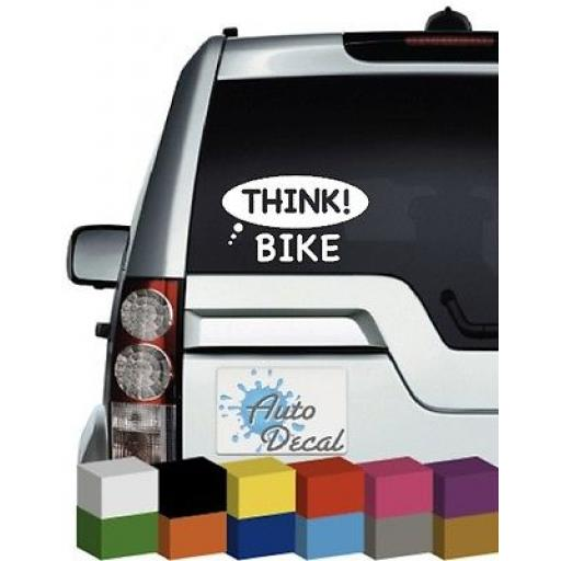 Think Bike Vinyl Car, Van Window, Bumper Decal / Sticker / Graphic