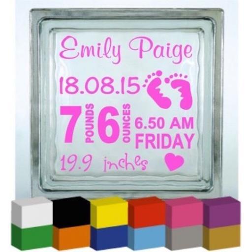 Personalised Baby Birth Vinyl Glass Block Decal / Sticker / Graphic