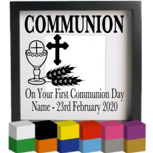 Communion Personalised Vinyl Glass Block / Photo Frame Decal / Sticker / Graphic