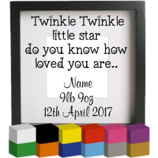 Twinkle Twinkle (Personalised) Vinyl Glass Block Decal / Sticker / Graphic