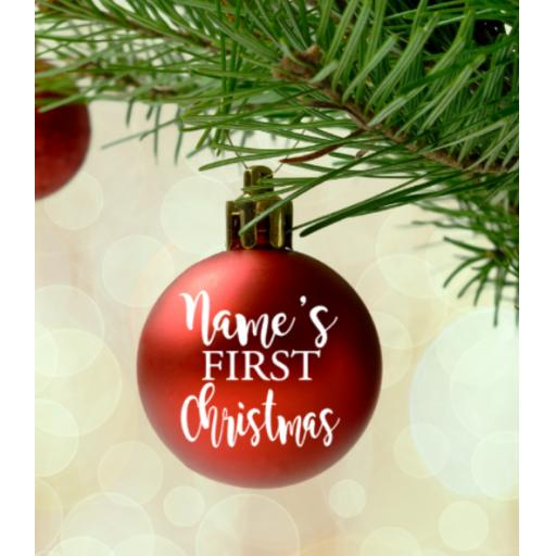 Personalised First Christmas V2 Bauble Sticker / Decal / Graphic