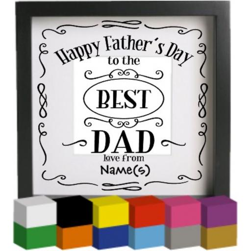 Happy Father's Day Personalised Vinyl Glass Block / Photo Frame Decal / Sticker / Graphic