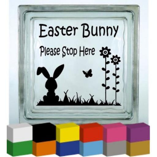 Easter Bunny Please Stop Here Vinyl Glass Block / Photo Frame Decal / Sticker / Graphic