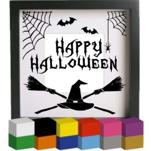 Happy Halloween Broomstick Vinyl Glass Block Decal / Sticker / Graphic