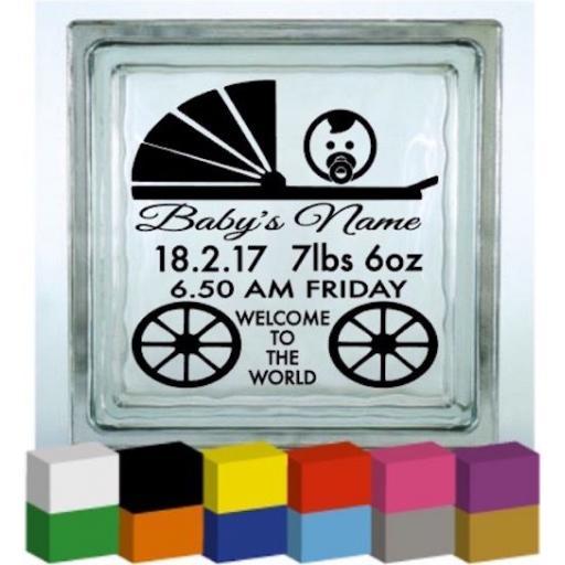 Personalised Baby Birth Pram Vinyl Glass Block Decal / Sticker / Graphic