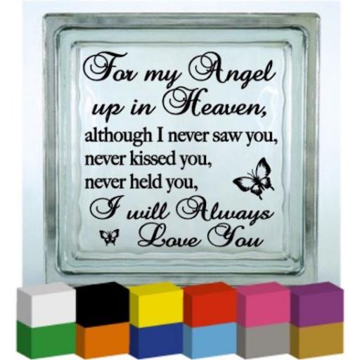 For my Angel up in Heaven Vinyl Glass Block / Photo Frame Decal / Sticker/ Graphic